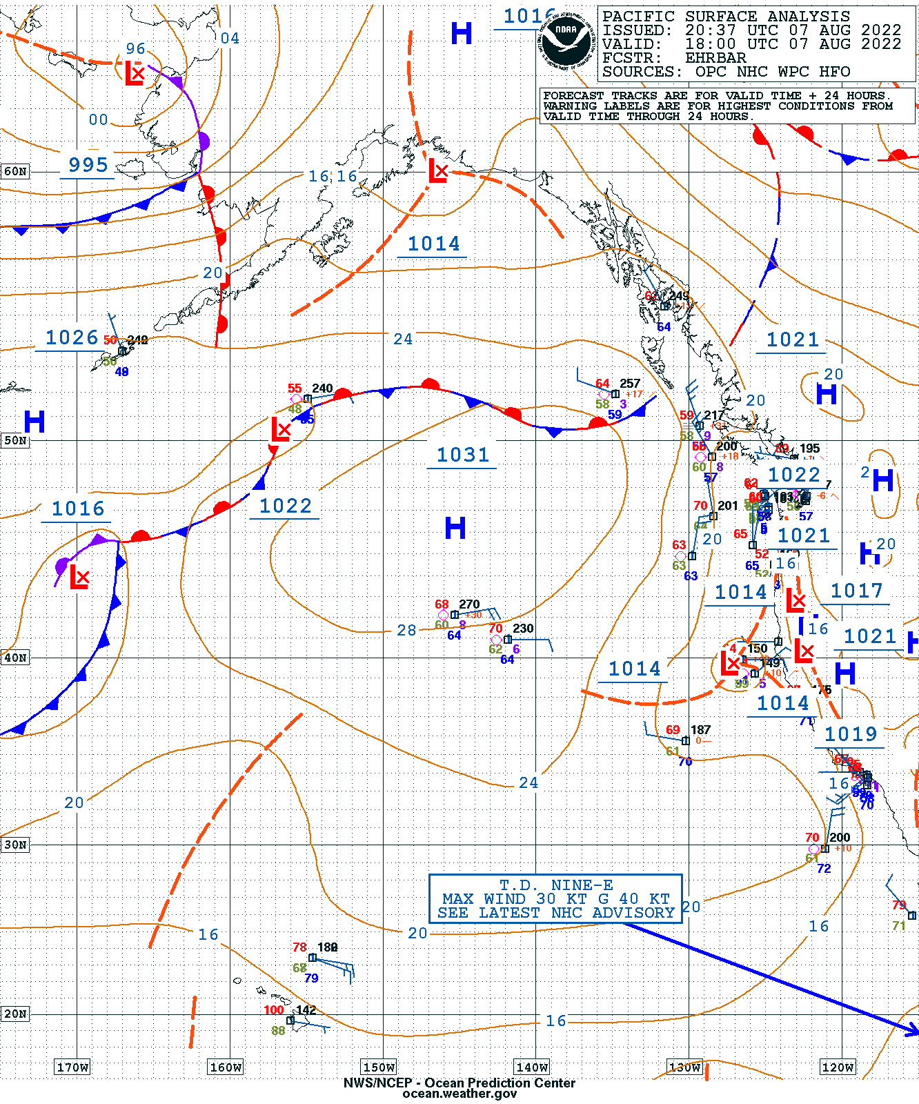 Eastern Pacific Surface Analysis