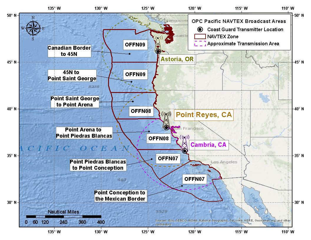Pacific NAVTEX Offshore Zone Map