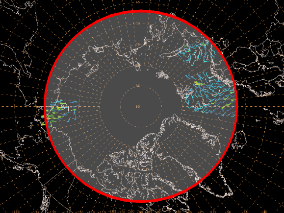 Figure 2. ASCAT gridded vector wind product domain for open waters north of 67 degrees North Latitude.